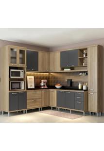 Cozinha Completa 16 Portas 5 Gavetas Sicilia 5803 Argila/Grafite Premium - Multimóveis