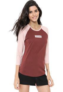 Camiseta Hurley Raglan Enjoy Vinho/Rosa