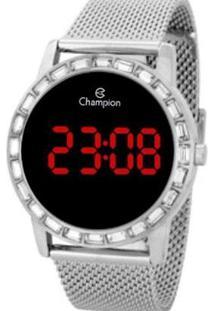 Relógio Champion Digital Ch40160T Feminino - Feminino-Prata