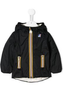 K Way Kids Logo Printed Hooded Jacket - Branco