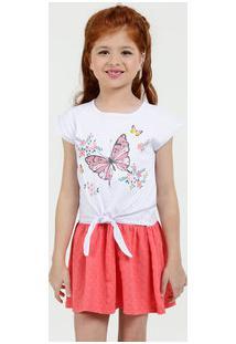 Vestido Infantil Estampa Borboleta Manga Curta Marisa