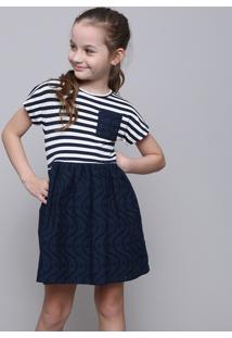Vestido Infantil Listrado Com Laço Manga Curta Azul Marinho