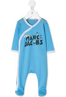 Little Marc Jacobs Pijama Com Estampa De Logo - Azul