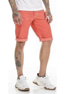 Bermuda Sarja Premium Slim Fit Masculina - Masculino-Coral