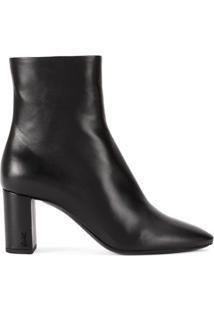 Saint Laurent Ankle Boots 'Lou' Em Couro - Preto