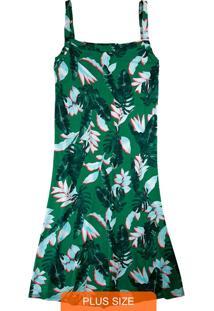 Vestido Verde Curto Tropical Em Viscose
