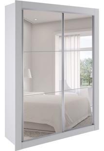 Guarda-Roupa Solteiro Com Espelho Vivere 2 Pt E 2 Gv Branco