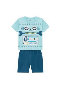 Pijama Brandili Em Malha Com Estampa Azul