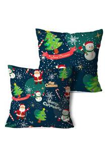 Kit 2 Capas Para Almofadas De Natal Merry Christmas 35X35Cm
