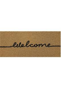 "Capacho ""Welcome""- Marrom Claro & Preto- 70X30Cmkapazi"