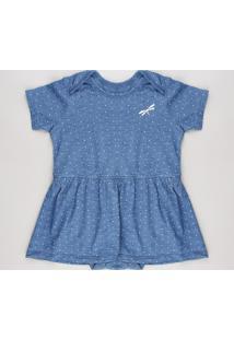 Body Saia Infantil Estampado De Poá Manga Curta Decote Redondo Azul