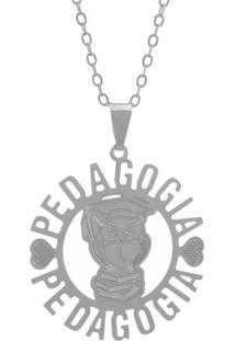 Gargantilha Horus Import Profissãµes Pedagogia Banhada Prata - 2060205 - Prata - Feminino - Dafiti