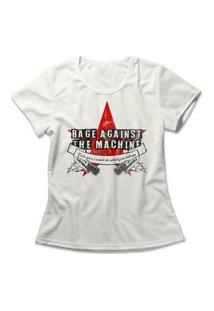 Camiseta Feminina Rage Against The Machine Off-White
