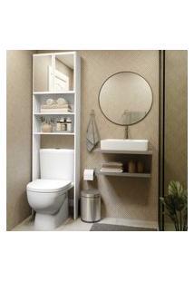 Armário Banheiro Para Vaso Sanitário Com 2 Portas E Espelho Aspen Plus Multimóveis Branco