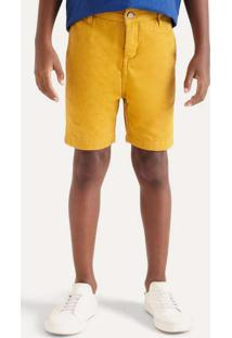 Bermuda Sarja Mini Forro Malha Amarelo