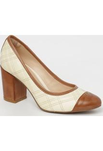 Sapato Em Couro Matelassê- Branco Marrom Claro- Sacapodarte