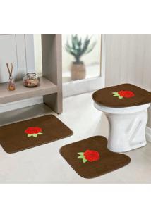 Jogo De Banheiro Dourados Enxovais Rosas 3 Peças Cafe