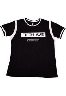 Camiseta Via Costeira Em Viscose Estampa Frontal Feminina - Feminino-Preto