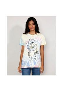Camiseta Feminina Estampada Tie Dye Manga Curta Ursinho Pooh E Leitão Ampla Decote Redondo Multicor