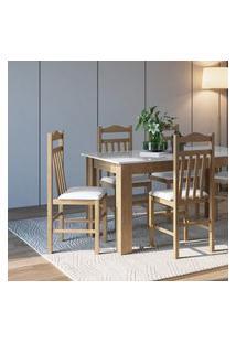 Conjunto Mesa Com 4 Cadeiras Ameixa Negra E Branco Lilies