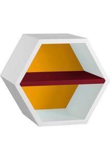 Nicho Hexagonal Favo Ii Com Prateleira Branco Com Amarelo E Bordo