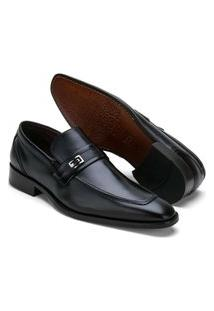 Sapato Social Masculino Reta Oposta Em Couro Preto