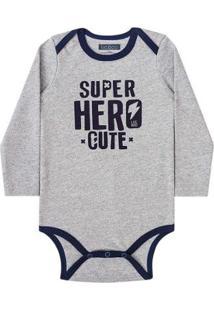 Body Bebê Luc.Boo Super Hero Cute Masculino - Masculino-Cinza