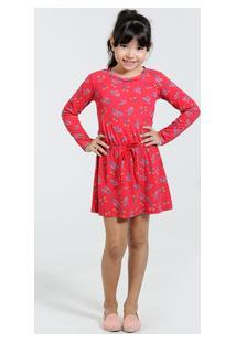 Vestido Infantil Manga Longa Estampa Floral Marisa