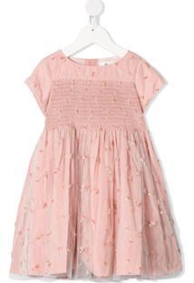 Bonpoint Vestido Evasê Com Tule E Aplicação Floral - Rosa