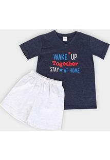 Pijama Infantil Candy Kids Wake Up Masculino - Masculino-Marinho