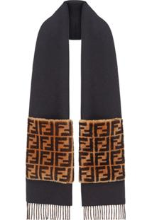 Fendi Cachecol 'Touch Of Fur' - Preto