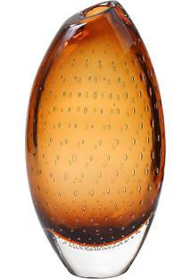 Vaso Oval Bolhas- Incolor & Marrom- 38Xø20Cm- Crcristais São Marcos
