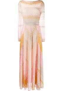 Missoni Vestido Flare De Tricô - Rosa