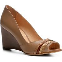 88903da9ef Peep Toe Couro Shoestock Anabela Tranças - Feminino-Nude