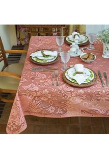 Toalha De Mesa Lepper Retangular Renda 150X210Cm Floral Rosa