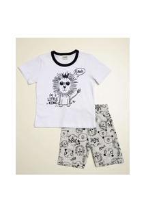 Pijama Infantil Manga Curta Estampa Leão Tam 1 A 3