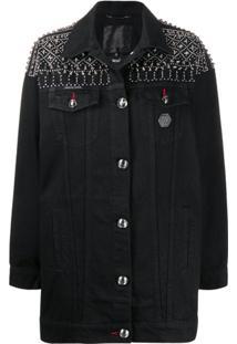 Philipp Plein Jaqueta Jeans Gothic - Preto