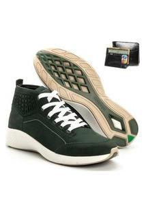 Tenis Masculino Em Couro Jhon Boots Yeeze Sneakers Verde + Carteira Em Couro