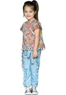 Calça Infantil Que Te Encante Tesla Feminina - Feminino-Azul Claro