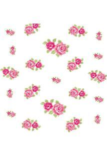 Papel De Parede Floral- Rosa & Verde- 300X0,58Cmjmi Decor