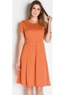 Vestido Laranja Com Pérolas Moda Evangélica