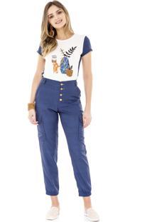T-Shirt Amora Café Com Estampa Azul Marinho