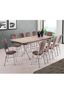Conjunto De Mesa De Jantar Extensível Com 10 Cadeiras Cannes Carvalho E Tabaco