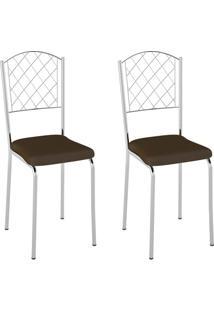 Conjunto Com 2 Cadeiras Susana Cacau E Cromado