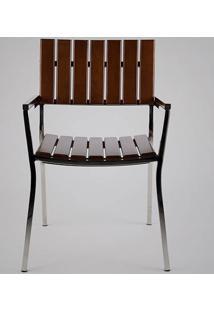 Cadeira Com Braço Fillety Estrutura Em Aço Inox Design Exclusivo By Studio Artesian