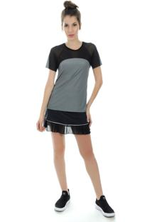 Camiseta Manga Curta Pinyx Vitro Cinza E Branco - Kanui