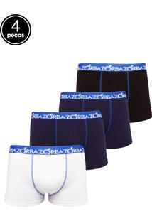 ec4bf66ff65edf Kit 4pçs Cueca Zorba Boxer Stretch Azul-Marinho