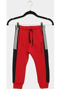 Calça Moletom Infantil Gangster Masculina - Masculino-Vermelho