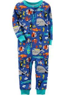 Pijama Bebê Carter'S Manga Longa Footless Ocean Animals Masculino - Masculino-Azul