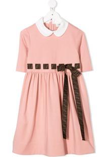 Fendi Kids Vestido Com Monograma Ff - Rosa